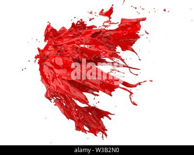 red fluid splash on white background. suitable for fluid, color and paint themes. 3d illustration - Stock Image