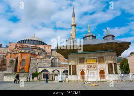 Hagia Sophia and Fountain of Sultan Ahmet III, Ayasofya Meydani, Fatih, Istanbul, Turkey, Eurasia - Stock Image
