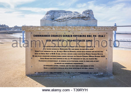 Memorial on Morecambe Promenade, Lancashire, UK, to Commander Charles Gerald Forsberg a famous marathon swimmer who once held the world record for cro - Stock Image