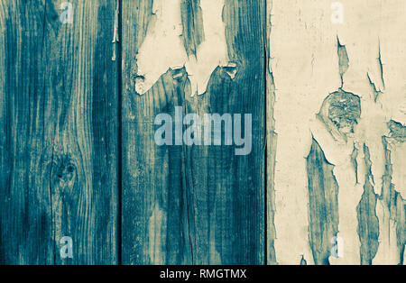 An old wooden door with the paint flaking off duo tined - Stock Image