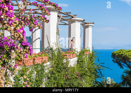 Villa Rufolo, Ravello, Amalfi coast, Salerno, Campania, Italy. The garden of Villa Rufolo - Stock Image