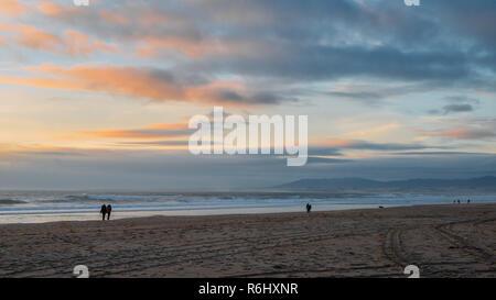 Beautiful sunset at Caparica beach, near Lisbon, Portugal - Stock Image