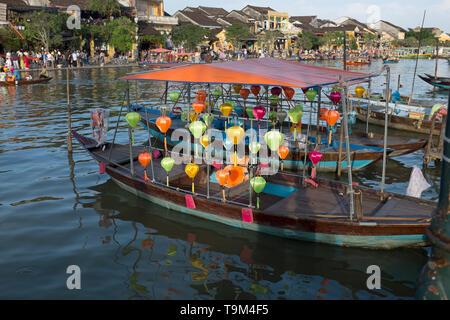 Lantern Boats Riverside Hoi An Vietnam - Stock Image