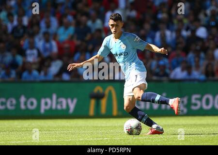 Phil Foden of Manchester City in action during the FA Community Shield match between Chelsea and Manchester City at Wembley Stadium in London. 05 Aug 2018 - Stock Image