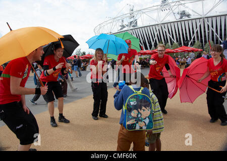 Street entertainment at Olympic Park, London 2012 Olympic Games site, Stratford London E20 UK, - Stock Image