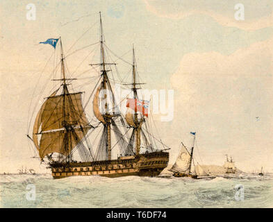 The Thames East Indiaman ship, hand coloured engraving  by Edward William Cooke, 1819 - Stock Image