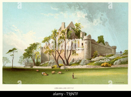 Vintage print of Craigmillar Castle circa 1880. Craigmillar Castle is a ruined medieval castle in Edinburgh, Scotland. It was begun in the late 14th century by the Preston family, feudal barons of Craigmillar, and extended through the 15th and 16th centuries. - Stock Image