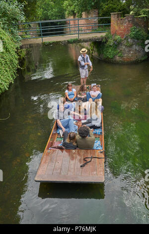 punt on river stour in canterbury - Stock Image
