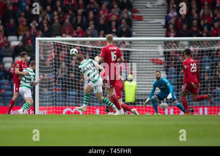 Hampden Park, Glasgow, UK. 14th Apr, 2019. Scottish Cup football, semi final, Aberdeen versus Celtic; James Forrest of Celtic scores for 1-0 in the 45th minute Credit: Action Plus Sports/Alamy Live News - Stock Image
