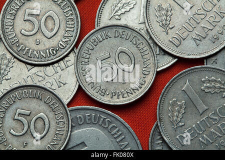 Coins of Germany. German 50 pfennig coin. - Stock Image