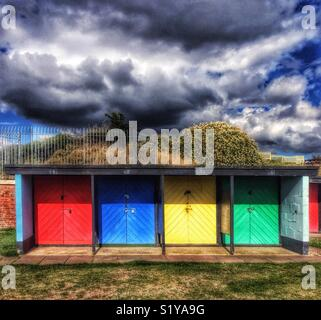Beach huts, Southsea, Portsmouth, Hampshire, England, UK - Stock Image