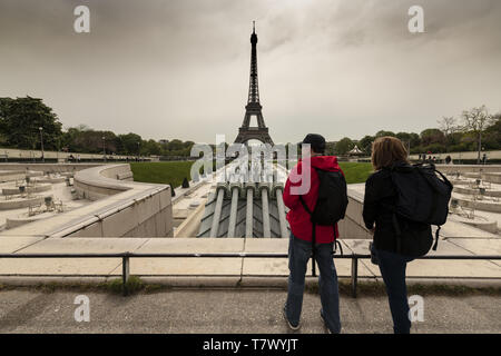 The tower is 324 metres tall, and the tallest structure in Paris. Its base is square, measuring 125 metres on each side. During its construction, the  - Stock Image