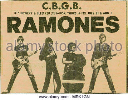 Newspaper ad for the RAMONES AT CBGBs in New York City, mid seventies. - Stock Image