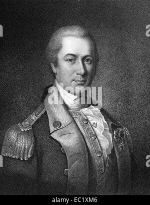 Otho Holland Williams (1749-1794) on engraving from 1835. Continental Army officer in the American Revolutionary - Stock Image