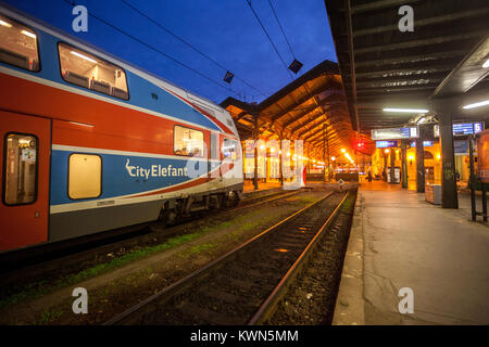 Masaryk railway station, train station Prague, Czech Republic - Stock Image