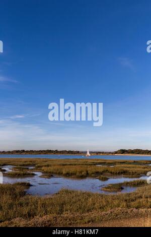 View across Chichester harbour West Sussex portrait format - Stock Image