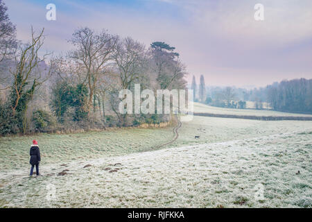 A woman walking a dog on a frosty morning. - Stock Image