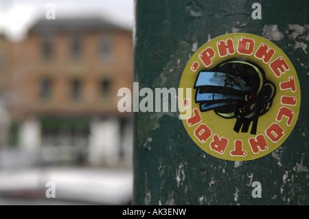 phonetic control sticker art manchester uk england street urban graffiti - Stock Image