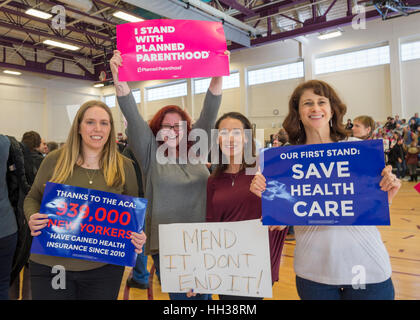 Westbury, USA. January 15, 2017.  L-R, Sue Moller of Merrick, Amy Budd of Bellmore, Stefana Muller of Babylon, and - Stock Image