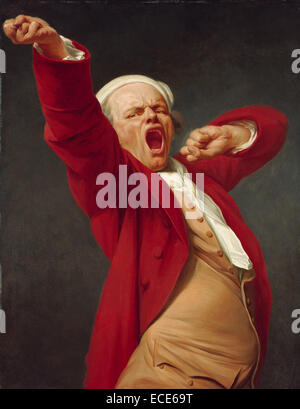 Self-Portrait, Yawning; Joseph Ducreux, French, 1735 - 1802; by 1783; Oil on canvas; Unframed: 114.3 x 88.9 cm (45 - Stock Image