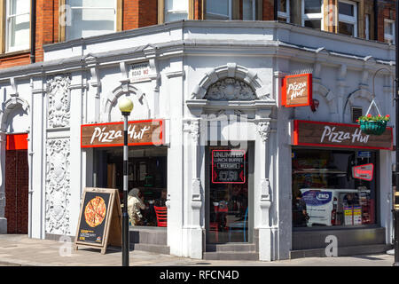 Pizza Hut restaurant, Queensway, Bayswater, City of Westminster, Greater London, England, United Kingdom - Stock Image