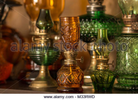 Collection of old-style kerosene lamps - Stock Image
