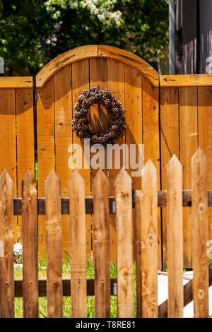 Wooden picket fence & gate;   Salida; Colorado; USA - Stock Image