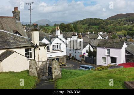 Hawkshead village Cumbria England UK United Kingdom GB Great Britain - Stock Image