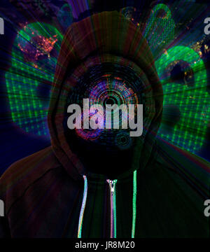 Computer hacker wearing a hooded black top with an augmentation HUD Display with padlocks and binary code in the background - Stock Image