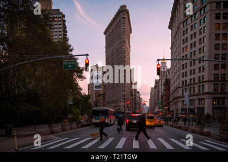 Flatiron Building, New York City, New York State, USA.  The 22 storey, 285 foot (87 meters) tall building designed by Daniel Burnham was completed in  - Stock Image