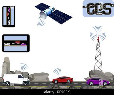 GPS Navigation. Road, highways along the rocks, cars, satellite, navigators, tower. Travelling by car. illustration - Stock Image