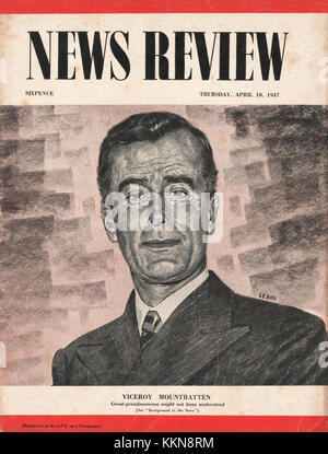 1947 News Review Magazine Viceroy Mountbatten - Stock Image