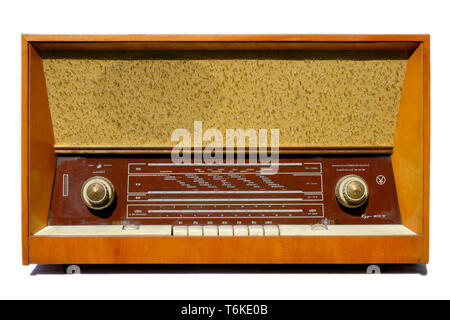 large vintage mono radio set on white background zala county hungary - Stock Image