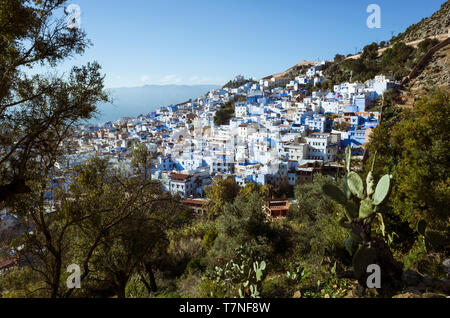 Chefchaouen, Morocco : General view of the medina old town, well noted for its blue-washed architecture. - Stock Image