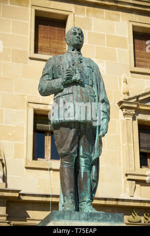 Monument to General Leopoldo Saro Marin in Plaza de Andalucia in Ubeda Spain. The statue has bullet holes from Spanish Civil War. - Stock Image