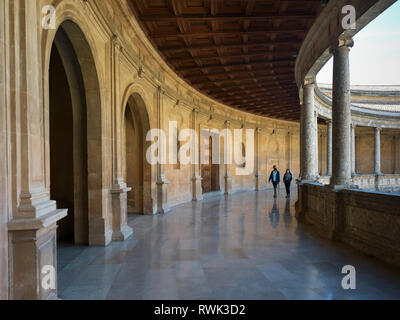 Tourists walking in the Alhambra; Granada, Spain - Stock Image