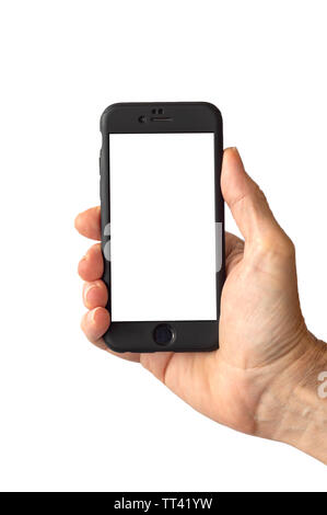 mobile phone. Hand holding a phone with a blank screen - Stock Image
