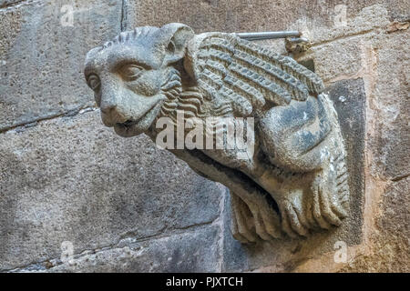 Gargoyle On Cathedral Wall, Barcelona, Spain - Stock Image