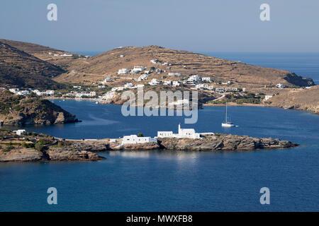 View of Chrisopigi Monastery and Faros on island's south east coast, Sifnos, Cyclades, Aegean Sea, Greek Islands, Greece, Europe - Stock Image