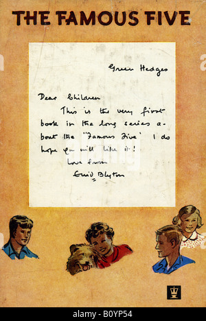 Note to Children from the writer Enid Blyton's first Famous Five  Book Five on a Treasure Island first pub 1942 - Stock Image