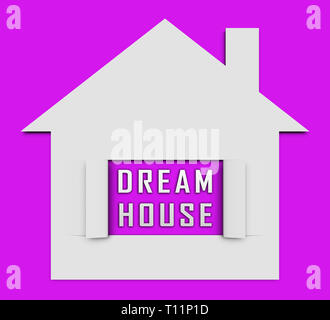Dream House Or Dreamhouse Icon Depicts Ideal Property For You. Dreaming About Luxury Home Or Apartment - 3d Illustration - Stock Image