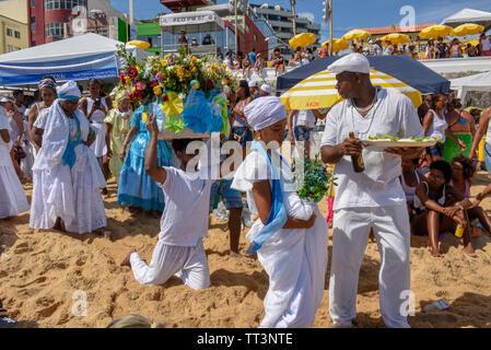Salvador, Brazil - 2 February 2019: people during the celebration of Yemanja at Salvador Bahia on Brazil - Stock Image