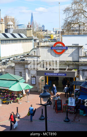 High angle shot of Embankment Underground Station entrance. - Stock Image