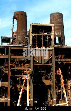 Demolition of Power Plant Boston MA - Stock Image