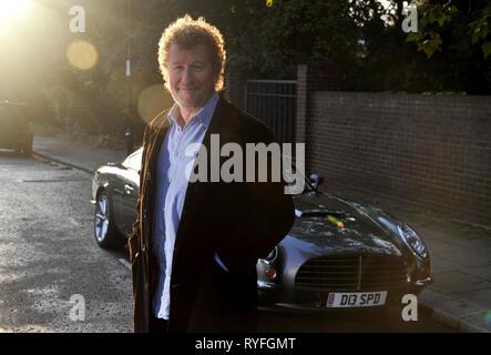 Author Sebastian Faulks with the David Brown Speedster car - Stock Image