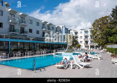 Pool terrace at Anemi Hotel, Kikeronos Street, Paphos (Pafos), Pafos District, Republic of Cyprus - Stock Image