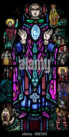 St. Edmund Arrowsmith, who was executed for his faith in 1628, St. Oswald & St. Edmund Church, Ashton-in-Makerfield, Greater Manchester, UK - Stock Image