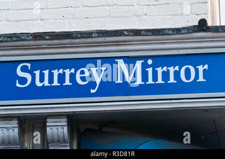 The Surrey Mirror Newspaper Sign - Stock Image