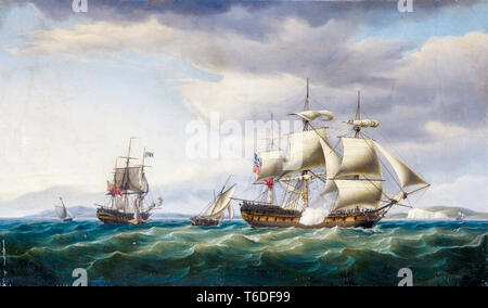 The East Indiaman ship Rodney in two positions off the English coast, firing a salute to mark her safe return from Bengal in August, 1788, painting by Thomas Whitcombe, 1788 - Stock Image