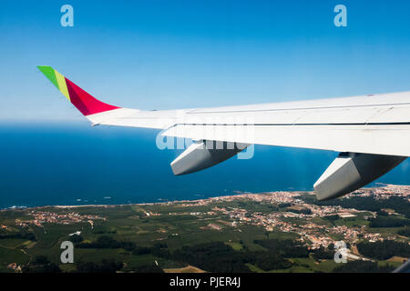 Flying over Northen Portugal with TAP Air Portugal. - Stock Image